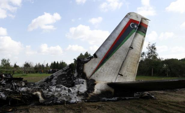 A view of the wreckage of a Libyan military plane that crashed near Grombalia town