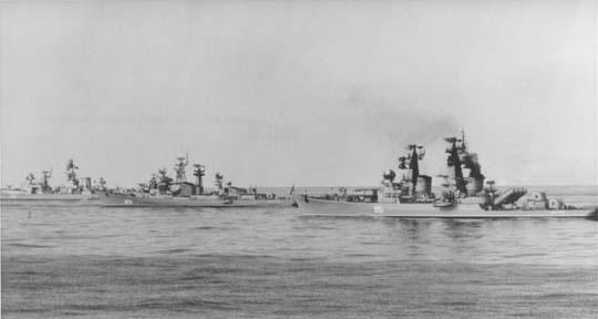 Tres buques soviéticos en el Mediterráneo en 1973.