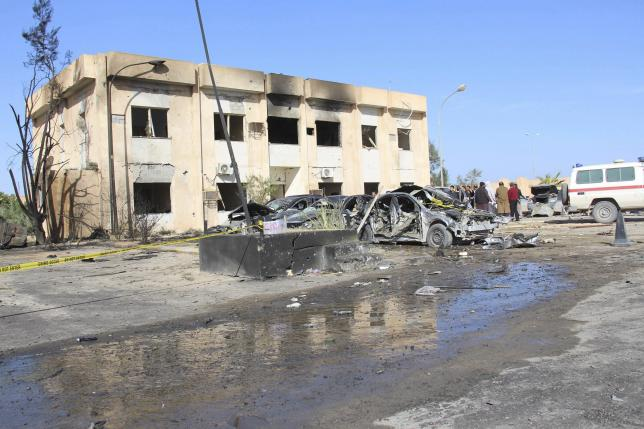 A general view shows the damage at the scene of an explosion at the Police Training Centre in the town of Zliten, Libya, January 7, 2016. REUTERS/Stringer