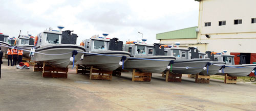 PIC. 15. SOME OF THE BOATS COMMISSIONED BY AMB. DANJUMA SHENI, REPRESENTATIVE OF THE MINISTER OF DEFENCE, IN LAGOS ON WEDNESDAY (17/8/16) 5768/17/8/16/BOA/BJO/NAN